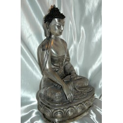 Buddha in Earth Touching Pose Statue: Silver, Nepal, 20th Century