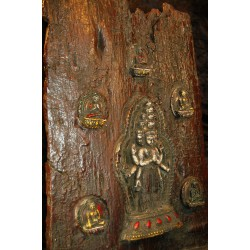 Avalokiteshvara with Dhyani Buddhas: Wood