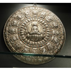 Buddha Mandala Wall Hanging: Silver, Nepal, 21st Century