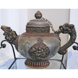 Ceremonial Silver Dragon Teapot: Nepal, 20th Century