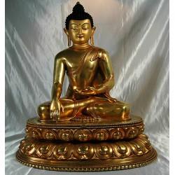 Buddha Shakyamuni Statue: Gold, Nepal, 20th Century