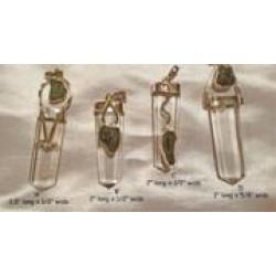 Moldavite & Quartz Silver Pendants: New