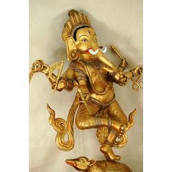 Ganesh, dancing; silver and gold