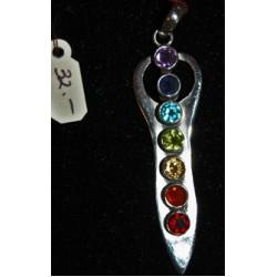 Goddess pendant w/chakra energy stones