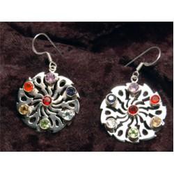 Earrings; Shiva Wheel, gemstones & silver