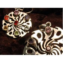 Earrings & Pendant set 'Shiva Wheel'
