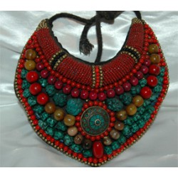 Tibetan Turquoise Coral beaded neck-plate Necklace