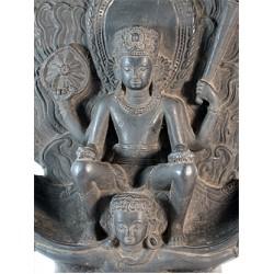 Vishnu with Garuda Statue: Stone, 19th Century